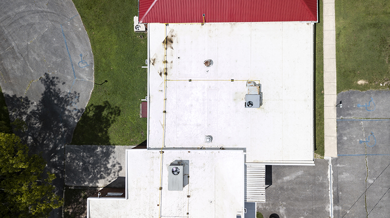 bare roof top top view